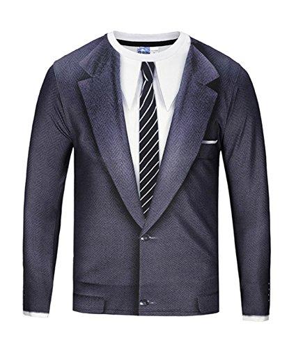 Angcoco Men's Long Sleeve 3D Digital Print Spoof Tee Shirt - False Blazer Suit