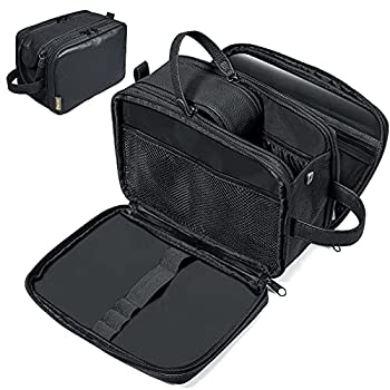 BALEINE Toiletry Bag for Men Large Travel Toiletries Bags with Water-Resistance Compartment PU Leather Dopp Kit