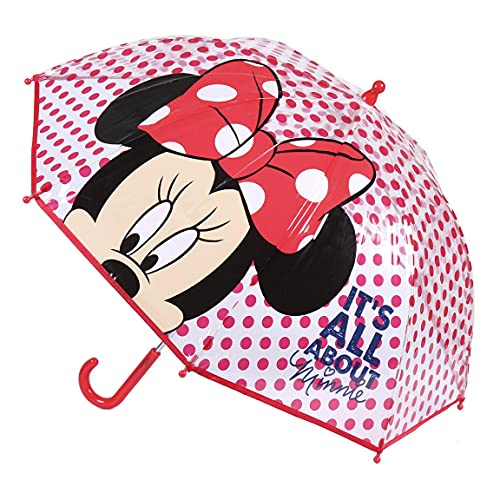 CERDÁ LIFE'S LITTLE MOMENTS- Paraguas Burbuja Manual de Minnie Mouse- Licencia Oficial Disney, Color Rojo (2400000612)