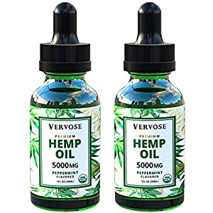 Vervose Organic Hemp Oil Extract 5000mg, 2 Pack, Vegan, 100% Natural, Depression and Anxiety Relief, Immune Support, Natural Sleep Aid, Anti Inflammatory, Joint Pain & Stress Relief, Made in USA