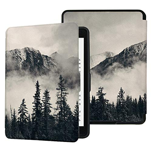 QIYI Folio Case for Kindle Paperwhite Fits All Paperwhite Generations Prior to 2018 (Not Fit All-New Paperwhite 10th Gen) E-Reader Covers PU Leather Smart Cover - Smoky Mountain Cliff