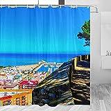 Spain Montgo Natural Park, Denia cortina de ducha de viaje baño decoración conjunto con ganchos poliéster 72 x 72 pulgadas (YL-05382)
