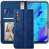 YATWIN Handyhülle Huawei Honor 20 Hülle, Klapphülle Huawei Honor 20 / Nova 5T Premium Leder Brieftasche Schutzhülle [Kartenfach][Magnet][Stand] Handytasche für Huawei Honor 20 / Nova 5T Hülle, Blau