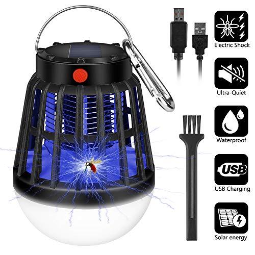 Vivibel Insektenvernichter Elektrisch, 3-In-1 Mückenlampe Campinglampe, Solar/USB 360° UV Insektenvernichter Outdoor mit 2500mAh Wiederaufladbarer Batterie,Mückenkiller Elektrisch für Innen und Außen