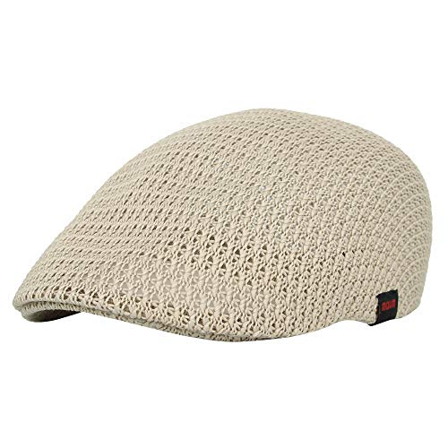 WITHMOONS Summer Mesh Flat Ivy Gatsby Newsboy Driving Hat Cap AM31168 (Beige)