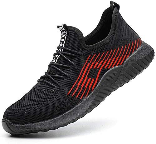 Gainsera Zapatos de Seguridad Zapatos de Trabajo Zapatos con Punta de Acero Ligero y Transpirable Hombres Mujeres Deportes Unisex Zapatos de Verano, 115 Negro 40 EU
