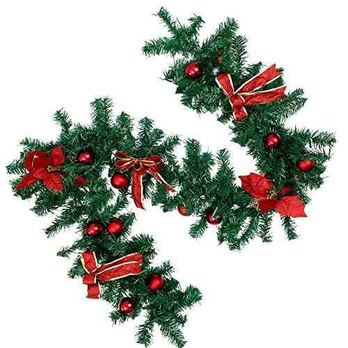 1.8M Guirnalda de Navidad Guirnaldas Decoradas Artificiales con Pino Verde Flores Rojas Adornos Multicolores para árboles de Navidad Escaleras Chimeneas Jardín D & Eacute; Cor