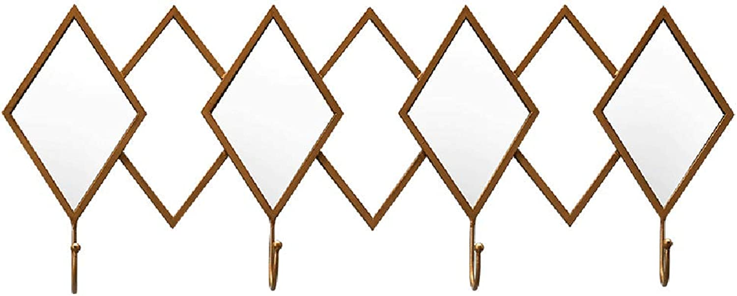 ZEMIN Wall Mount Coat Rack with 4 Hooks Diamond Mirror Sort Out Wearing Bathroom Creative Household (color   gold, Size   62x5x24cm)