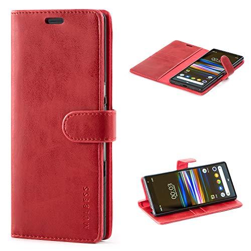 Mulbess Flip Tasche Handyhülle für Sony Xperia 10 Plus Hülle Leder, Sony Xperia 10 Plus Klapphülle, Sony Xperia 10 Plus Handy Hülle, Schutzhülle für Sony Xperia 10 Plus Handytasche, Wein Rot