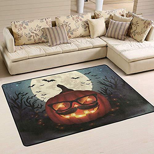 Qinzuisp Deurmat Halloween Hipster pompoen deurmat glazen maan vleermuis indoor outdoor tapijt voor slaapkamer keuken terras woonkamer buiten binnen ingang