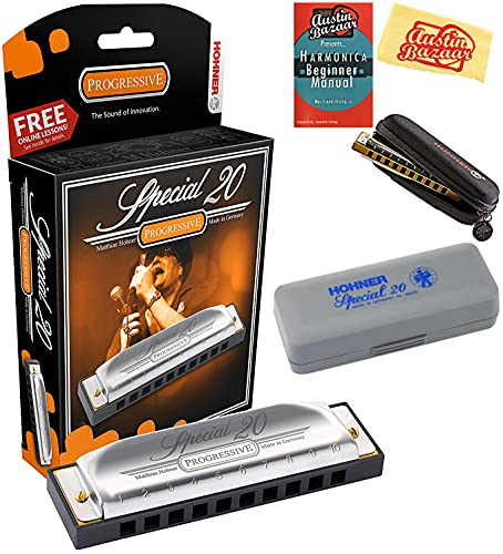 Hohner 560 Special 20 Harmonica Bundle with Carrying Case, Pouch, Harmonica Beginner Manual, and Austin Bazaar Polishing Cloth - Key of C