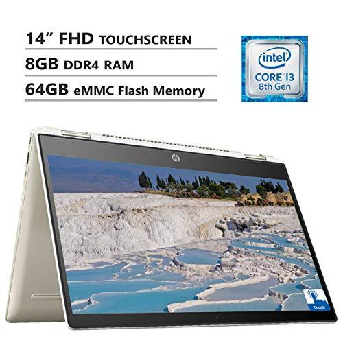 HP Chromebook 14' Full HD Touchscreen 2-in-1 Laptop, Intel Core i3-8130U Up to 3.4GHz, 8GB DDR4 RAM, 64GB eMMC Flash Memory, Wireless-AC, USB Type-C, USB 3.0, Chrome OS