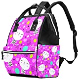 Inhomer Cute Cats and Floral in Pink Diaper Bag Travel Mom Bags Nappy Backpack Large Capacity for Baby Care
