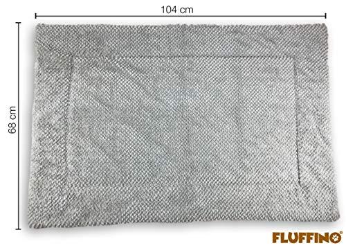 FLUFFINO Hundedecke – Flauschig, Weich u. Waschbar (Größe L, 104 x 68 cm, grau)- erhöhte Rutschfestigkeit durch Gumminoppen – Für große u. kleine Hunde o. Katzen – Hundematten/ Hundekissen, Katzendecke (L) - 2