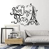 HFDHFH París Torre Eiffel Francia Amor Estrellas Moda Dormitorio Pegatina para Sala de Estar 74X95 CM