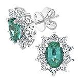 Naava - Pendientes para Mujer de Oro Blanco 18K con Esmeralda y Diamante 0.025 ct