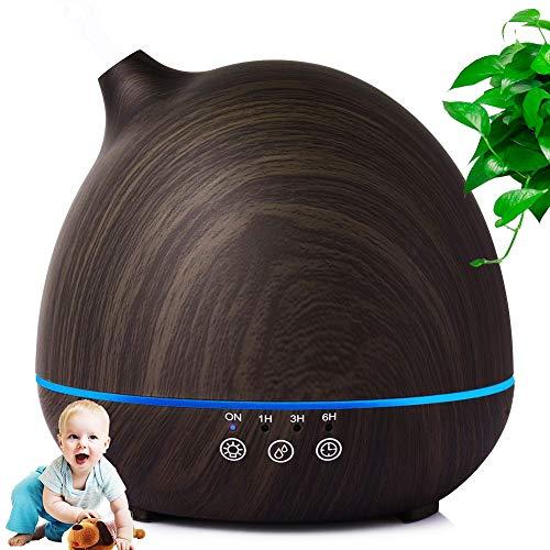Aromatherapie-diffuser, etherische olie voor aromatherapie, luchtbevochtiger van hout, verdamper, verstuiver, nachtlampje 7 kleuren, geschikt voor slaapkamer, spa