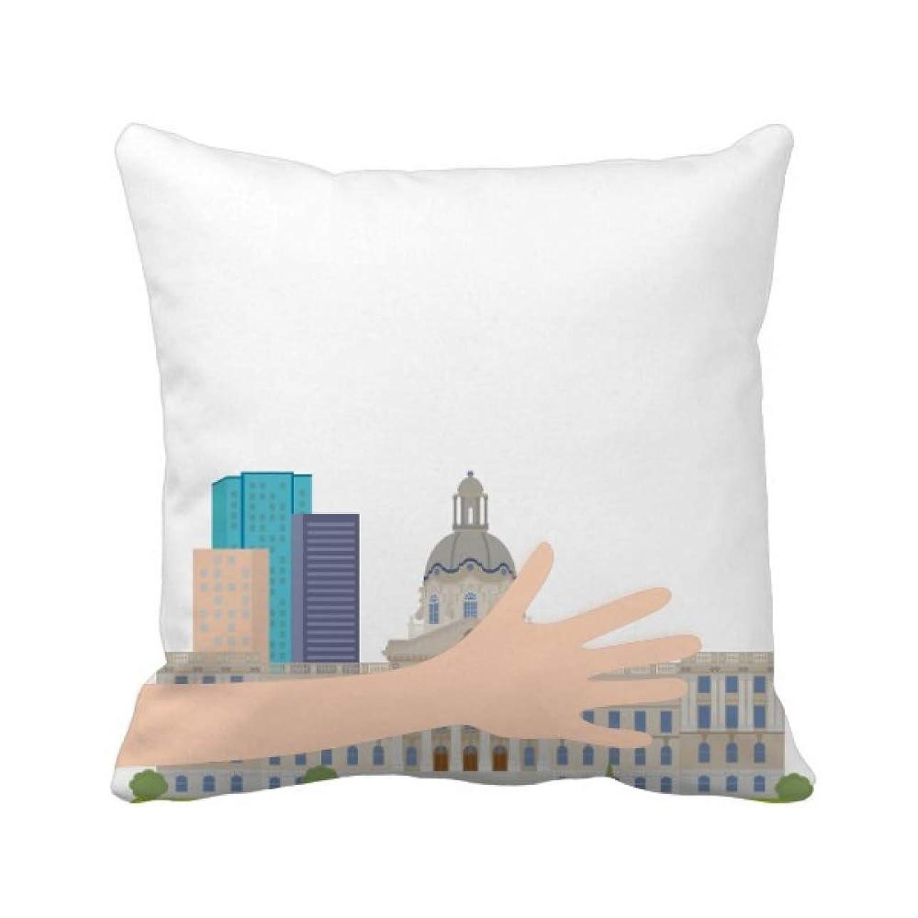 グラム人気のライブカナダランドマークと都市建築物の漫画 手投げ枕カバー正方形