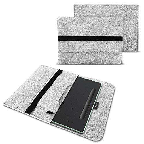 NAUC Funda para Wacom Intuos S para tableta gráfica Wacom Intuos S de 10,1 pulgadas, de fieltro resistente, con bolsillos interiores y cierre seguro, color gris claro