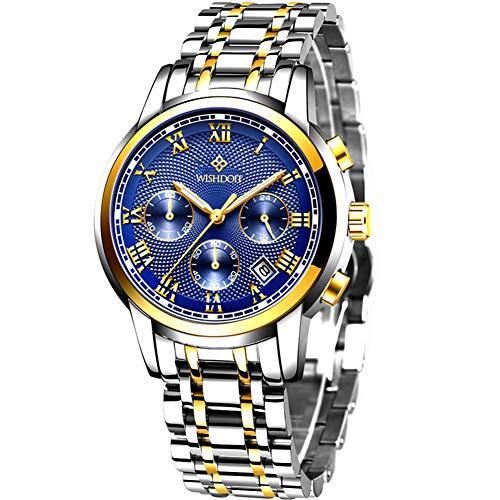 WISHDOIT Heren Horloges Elegante Ontwerper Waterdicht Leer Zwart Sport Analoog Quartz Militaire Horloge voor Mannen Jurk Zakelijke Chronograaf Polshorloge