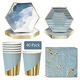 DreamJing - Set di stoviglie in cartone con strisce blu e dorate, per compleanni, festival, matrimoni, feste (8 piatti, 8 piatti da dessert, 8 bicchieri di carta, 16 tovaglioli)