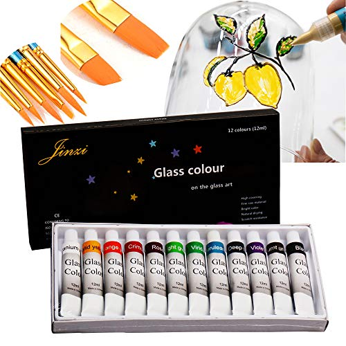 Jinzi - Pintura para vidrios, no tóxica, Kit de Pintura Permanente de Vidrio, Base lacada para Pintura artística de Vidrio, Pintura de Vidrio con 10 Pinceles de Pelo de Nailon de Punta Redonda