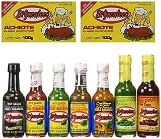 El Yucateco Hot Sauce Variety 7 Pack,  2 Achiote Pastes