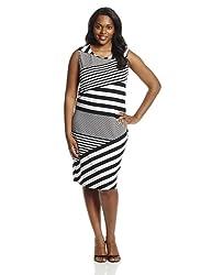 Calvin Klein Women's Plus-Size Sleeveless Diaganol Stripe Dress