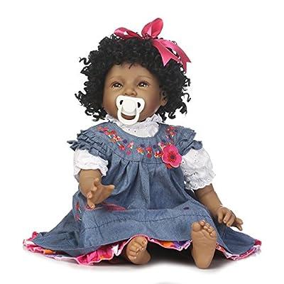 "NPK Reborn Baby Doll Girls African American Girl Black Doll 22"" Silicone Vinyl Realistic Handmade Weighted Body Newborn Denim Dress Gift Set for Ages 3+"