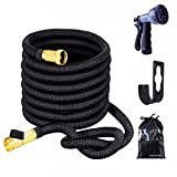 EnzeroTools Expandable Garden Hose with Spray Nozzle, Solid Brass Connector and Hose Holder