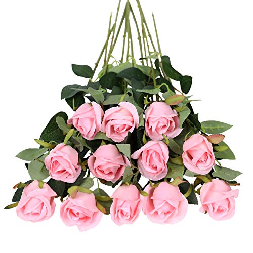 Tifuly Rosen Künstliche Blumen 12 Pcs Seide Künstliche Rose Blumen Gefälschte Blumen für Brautstrauss Haus Hochzeits Party Deko DIY(Rosa)