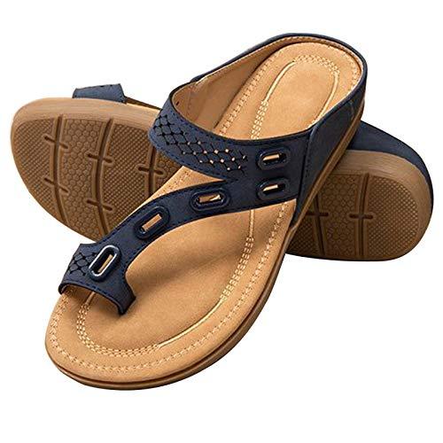 Yanding Damen-Sandalen, rutschfest, niedrige Absätze, superleicht, Flip-Flops, Slip, hohl, flacher Absatz, Flip-Flop, Strand-Sandale (37, blau)