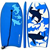 Goplus Super Bodyboard Body Board EPS Core, IXPE Deck, HDPE Slick Bottom with Leash