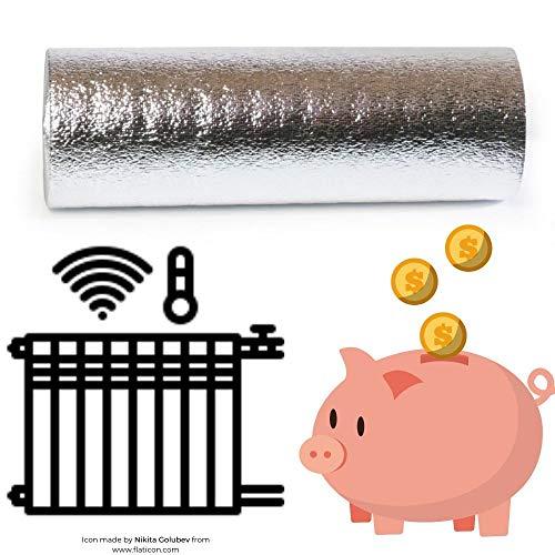 Reflexionsfolie 600x50cm, Reflektorfolie hinter Heizkörper, Wärmerückstrahlung 95%, 3mm dick, Heizkosten sparen und Umwelt schonen. Reflektionsplatte, Reflexionsrolle
