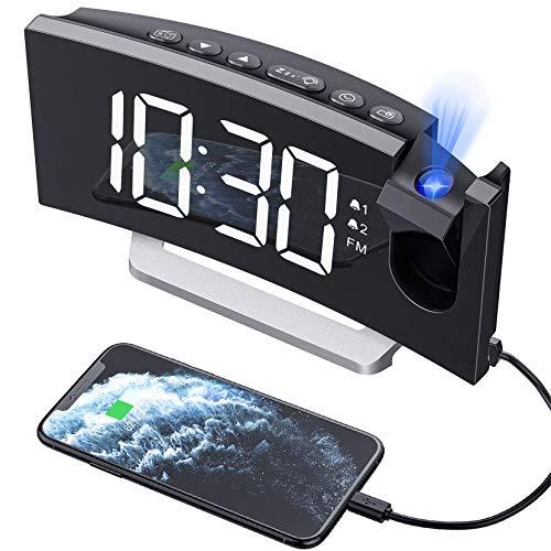 Mpow Projektionswecker, Wecker Digital mit Projektion, Radiowecker mit USB-Anschluss, Dual-Alarm, 5 Alarmtöne mit 3 Lautstärke, 0-100{44483b11dca3e37ae1abe91ca8f466cc88f37a5486f2a5e4b09d98d688b05f26} Helligkeitsdimmer, 4 Projektionshelligkeit, 30 FM Radio