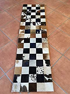 Hand Made Tricolor Cowhide Rug Patchwork Cow Skin Hair On Hide Runner, 1.4 ft X 5.16 ft (17