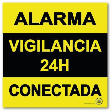 Vinilo autoadhesivo disuasorio (pegatina) alarma 15x15 Alarma 24H Vigilancia Conectada
