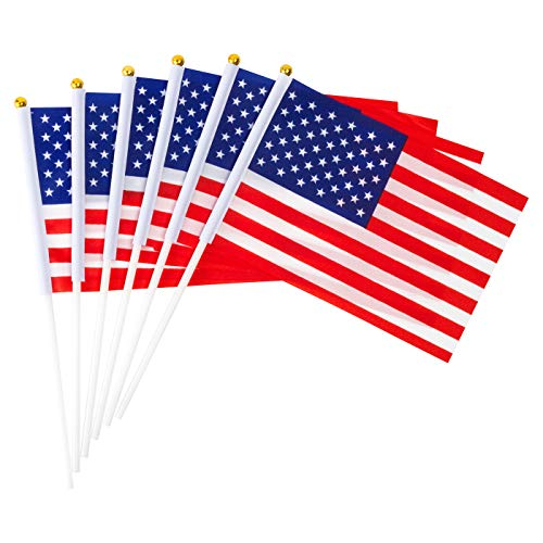 GammyUS 30pcs Small Mini USA US Flag 8 x 5.5 Inch American Flag with Plastic Sticks Hand Held National Country Flags for Party Decorations, Parades, World Cup,Festival Events,International Festival