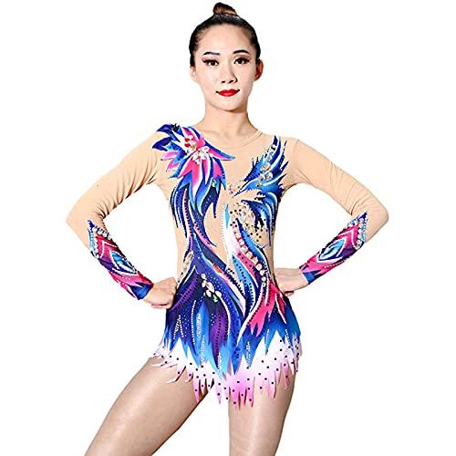 per Donna da Ragazza Ginnastica Ritmica Body Danza Pattinaggio sul Ghiaccio Ginnastica Artistica Body Manica Lunga Sport Abbigliamento Sportivo Fatto A Mano,Blu,XL