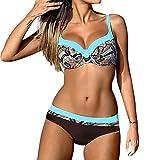 TUDUZ Ropa de baño de Mujer Boho Retro Suelto Traje de Baño Divididos Conjuntos de Bikinis Cintura Alta Bikini Sets Estampado Florales Halter Bikini Bañador de Baño(C Azul,M)