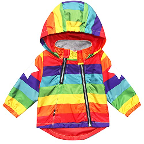 Little Kids Zipper Hooded Jacket Rainbow Color Striped Hooded Zipper Coats for Kids Baby Windbreaker Outerwear Unisex Coat 4T
