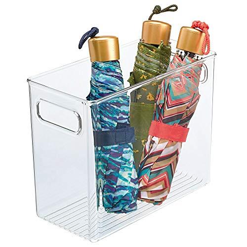 mDesign Caja organizadora con asas integradas – Práctica cesta de almacenaje de bonito diseño – Contenedor plástico multiusos para baño, dormitorio y otras habitaciones – transparente