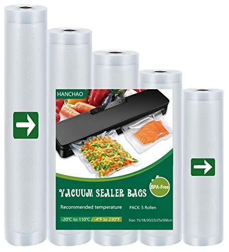 HANCHAO Vakuumrollen 5 Rollen Vakuumierbeutel Folienrollen für alle Vakuumierer und für Sous Vide geeignet, BPA-Frei, Vakkumierfolien Stark & Reißfest & Kochfest & Wiederverwendbar Vakuumbeutel