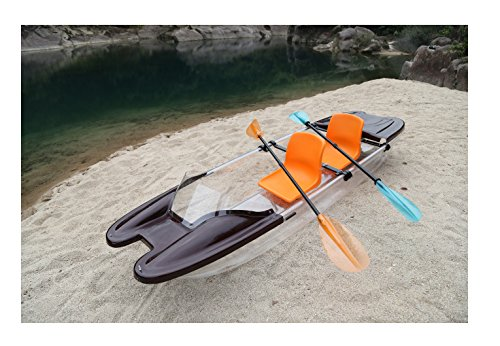ClearYup Electric Kayak with Remote Control Jet Kayak with Trolling Motor See Through Kayak Clear Bottom Boat 2 Seater Kayak Made by Fiberglass and Polycarbonate