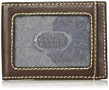 Wrangler Men's Leather Bifold Wallet, brown basket Weave front pockets, One Size
