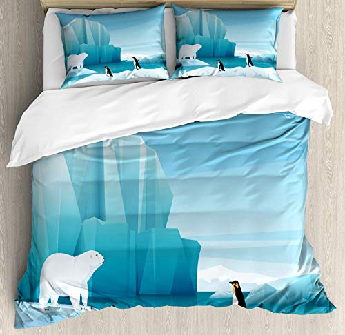 North Pole Double Bedding Duvet Cover 3 Piece, Cartoon of Penguin Polar Bear, Soft Bedding Protects Comforter with 1 Comforter Cover 2 Pillow Case, Sea Blue Pale Sky Blue Charcoal Grey and Baby Blue