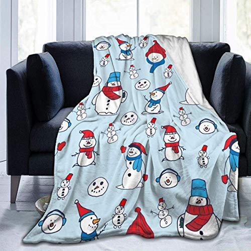 Cute Christmas Snowmen Red Scarf Soft Throw Blanket 40'x50' Lightweight Flannel Fleece Blanket for Couch Bed Sofa Travelling Camping for Kids Adults