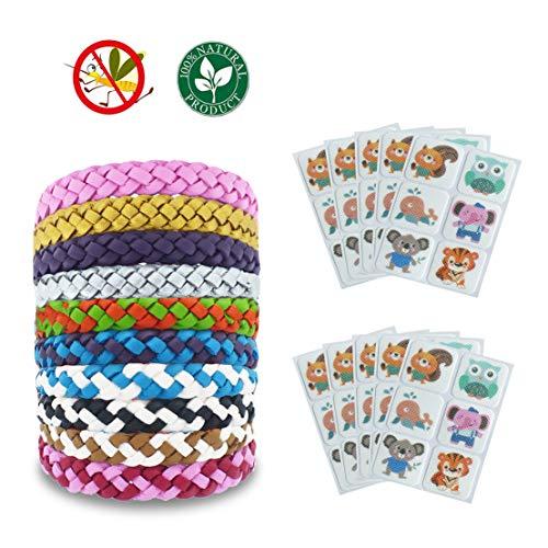 YZCX 10 Pezzi Braccialetti Antizanzare e 10 Confezioni da 6 Pezzi Adesivi Anti Zanzare per Bambini e Adulti per Interno e Spiaggia Campeggio Barbecue Pesca Correre