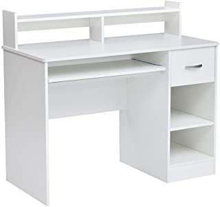 ROCKPOINT Axess Computer Desk with Keyboard Tray , White