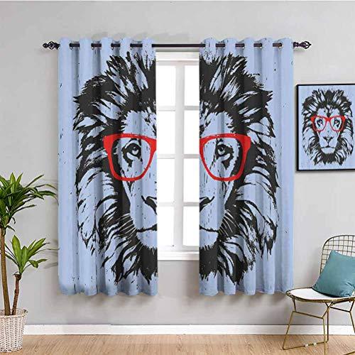 Decoración de dormitorio de animales oscuros, retrato de león grunge con gafas hipster, Nerd, humor, cómic, rey, 2 paneles, azul, rojo, gris carbón, 132 x 214 cm